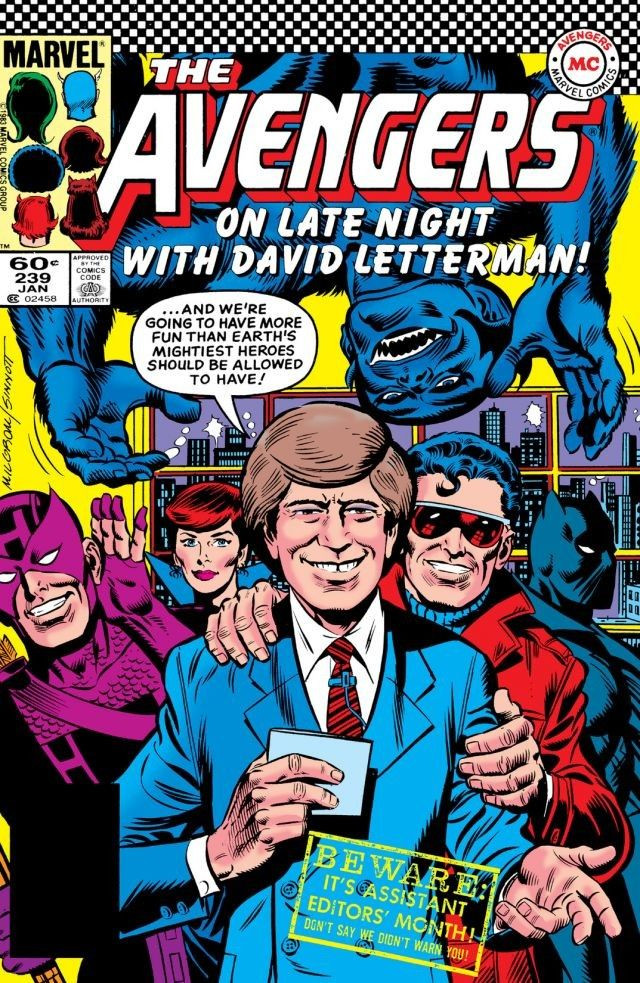 David Letterman with the Avengers