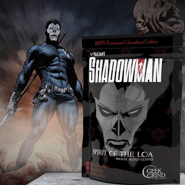 Shadowman Spirit of the LOA is actually one of the better ideas Valiant and Geek Grind came up with, like the X-O Manowar blend designed to taste like a thousand years of sweat buildup inside his armor.