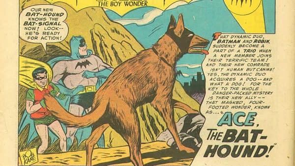 Ace the Bathound in Batman #92, title splash artwork by Sheldon Moldoff, DC Comics 1955.