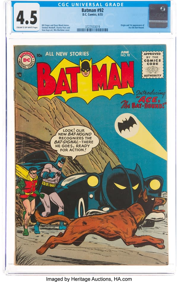 Ace the Bathound cover by Win Mortimer for Batman #92, DC Comics 1955.
