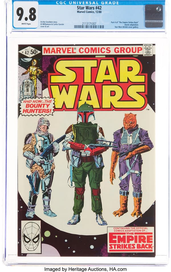 Star Wars #42 featuring the first comic book appearance of Boba Fett, Marvel Comics 1980.