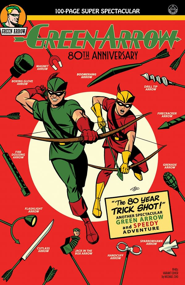 Cover image for GREEN ARROW 80TH ANNIVERSARY 100-PAGE SUPER SPECTACULAR #1 CVR B MICHAEL CHO 1940S VAR