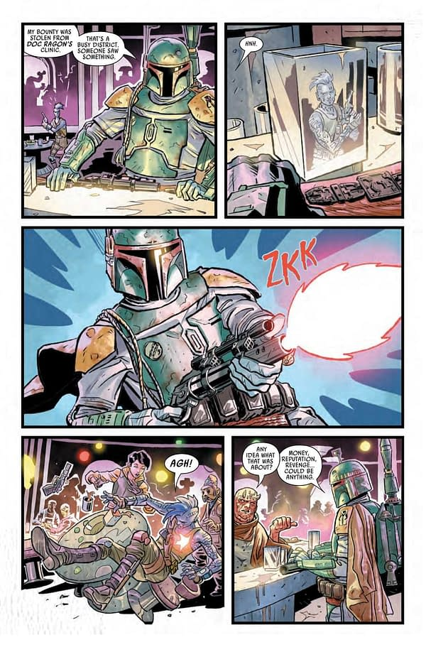 Interior preview page from APR210945 STAR WARS WAR OF THE BOUNTY HUNTERS #1 (OF 5), by (W) Charles Soule (A) Luke Ross (CA) Steve McNiven, in stores Wednesday, June 2, 2021 from MARVEL COMICS