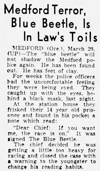 A 14-year-old Blue Beetle comes to an agreement with local police. Clipping from The Sacramento Bee via Newspapers.com