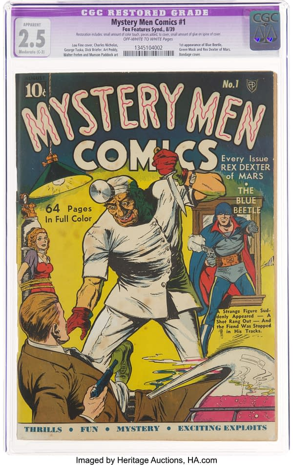 Mystery Men Comics #1 featuring the debut of the Blue Beetle (Fox, 1939).