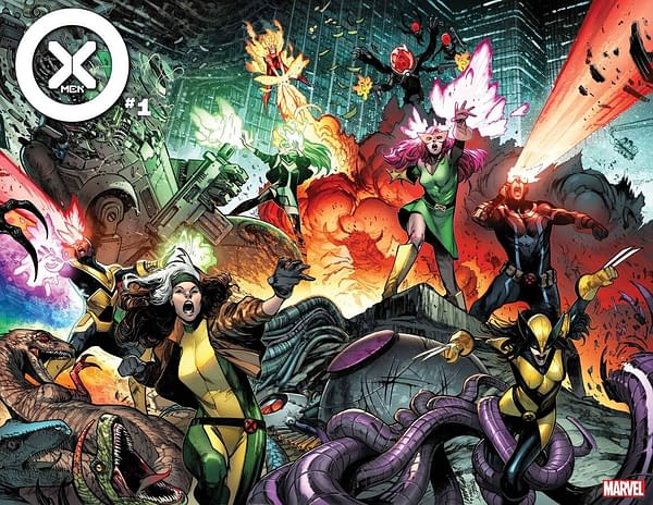 The cover to X-Men #1, by Gerry Duggan, Pepe Larraz, and Marte Gracia, in stores July 7th from Marvel Comics (MAY210525)