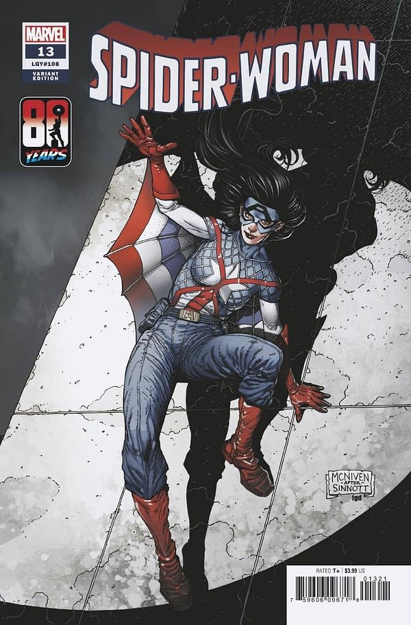 Cover image for SPIDER-WOMAN #13 MCNIVEN CAPTAIN AMERICA 80TH VAR