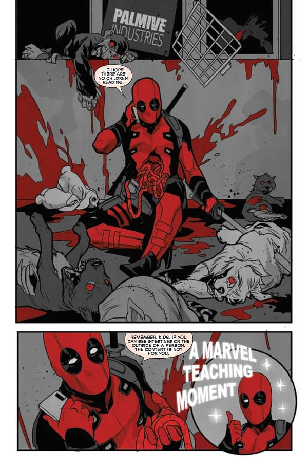 Interior preview page from JUN210567 DEADPOOL BLACK WHITE & BLOOD #1 (OF 5), by (W) Tom Taylor, More (A) James Stokoe, More (CA) Adam Kubert, in stores Wednesday, August 4, 2021 from MARVEL COMICS